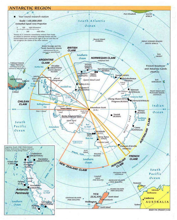 Detailed political map of Antarctic Region - 2002.