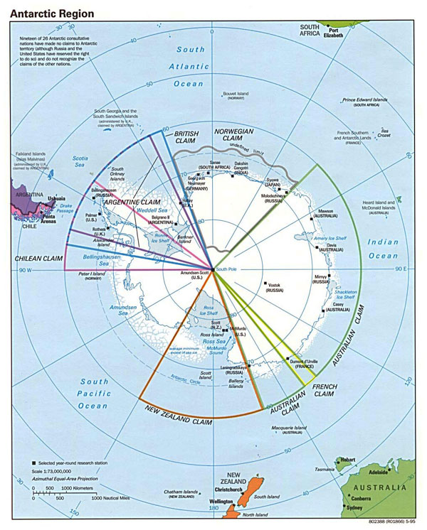 Large Antarctic Region political map - 1995.