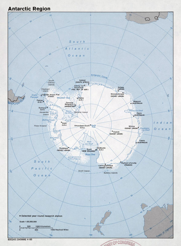 Large detailed map of Antarctic Region - 1985.