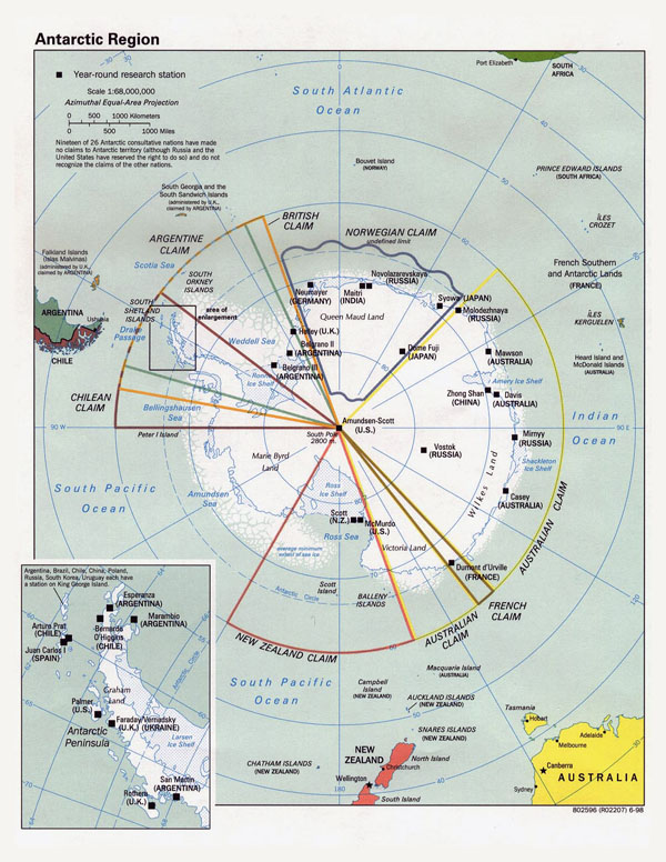 Large political map of Antarctic Region - 1998.
