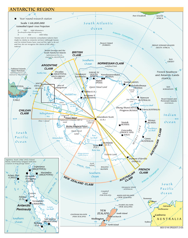 Large scale political map of Antarctic Region - 2005.