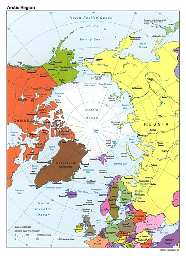 Detailed political map of Arctic Region - 1995.