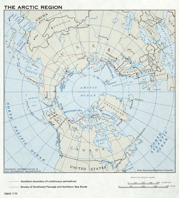Large detailed map of Arctic Region - 1970.