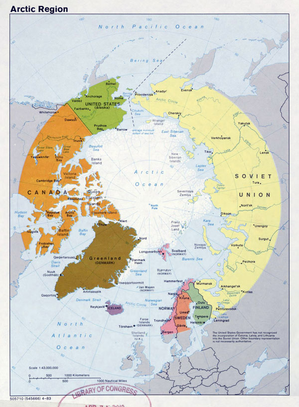Large detailed political map of Arctic Region - 1983.