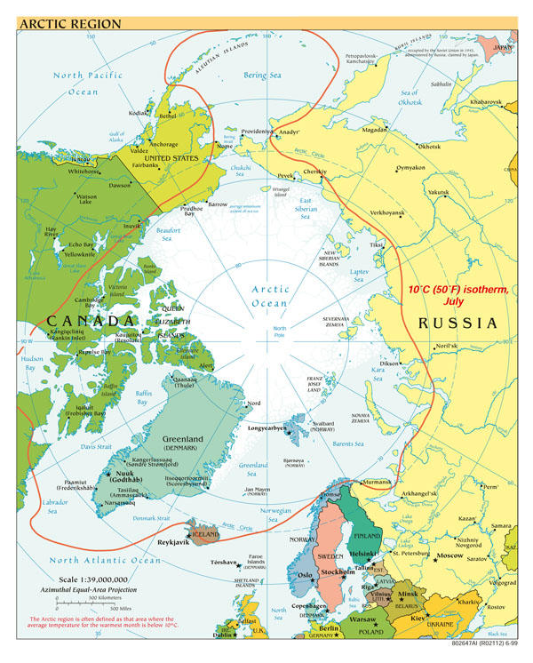 Large detailed political map of Arctic Region - 1999.