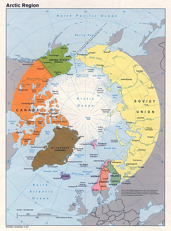 Large political map of Arctic Region - 1987.