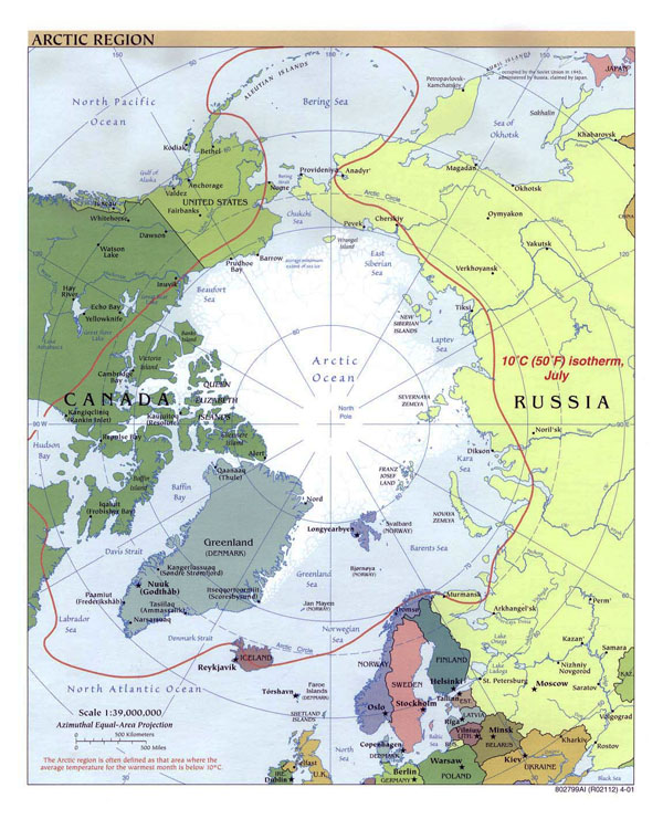 Large political map of Arctic Region - 2001.