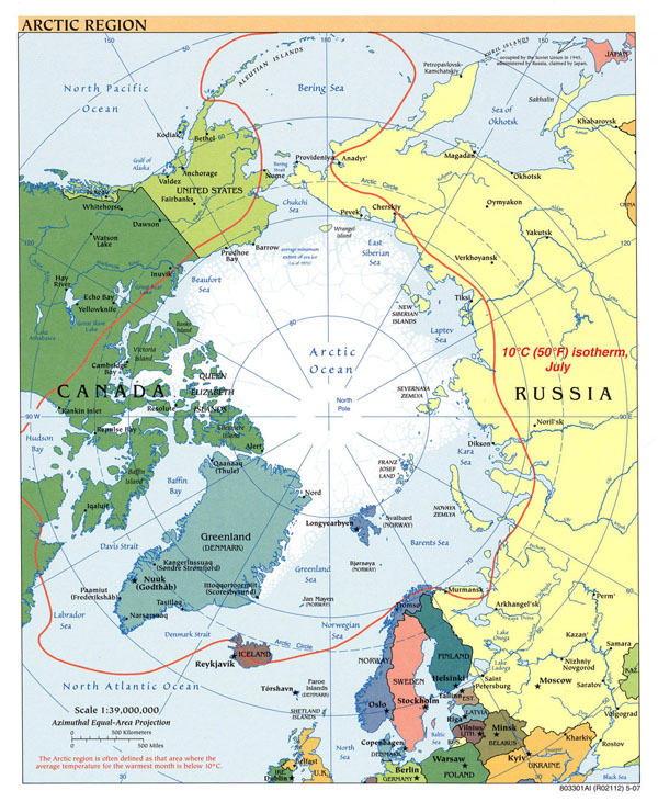 Large political map of Arctic Region - 2007.