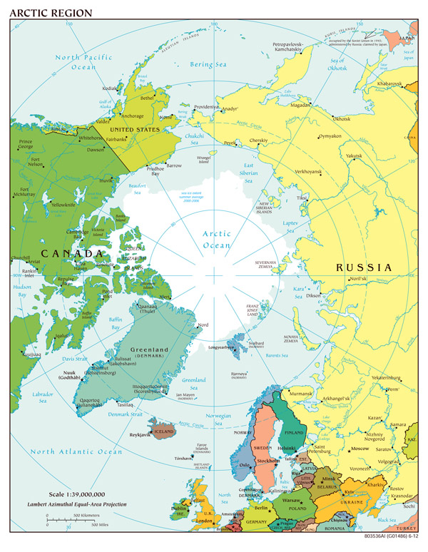 Large scale political map of Arctic Region - 2012.