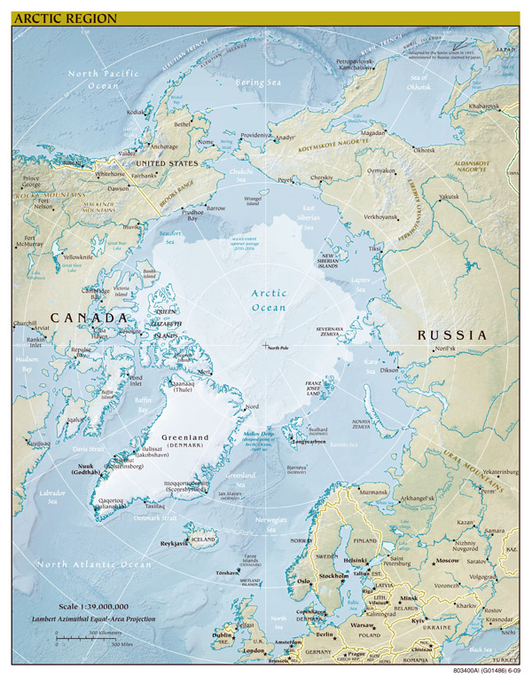 Large scale political map of Arctic Region with relief - 2009.