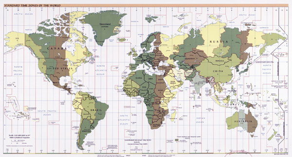 Large detailed Time Zones map of the World - 2005.