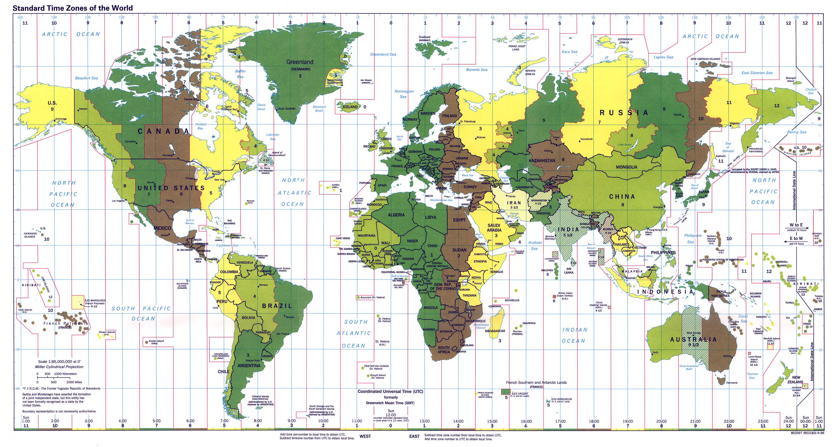 Large map of Time Zones of the World 1998