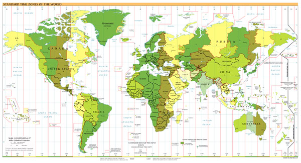 Large scale map of Standart Time Zones of the World - 2001.