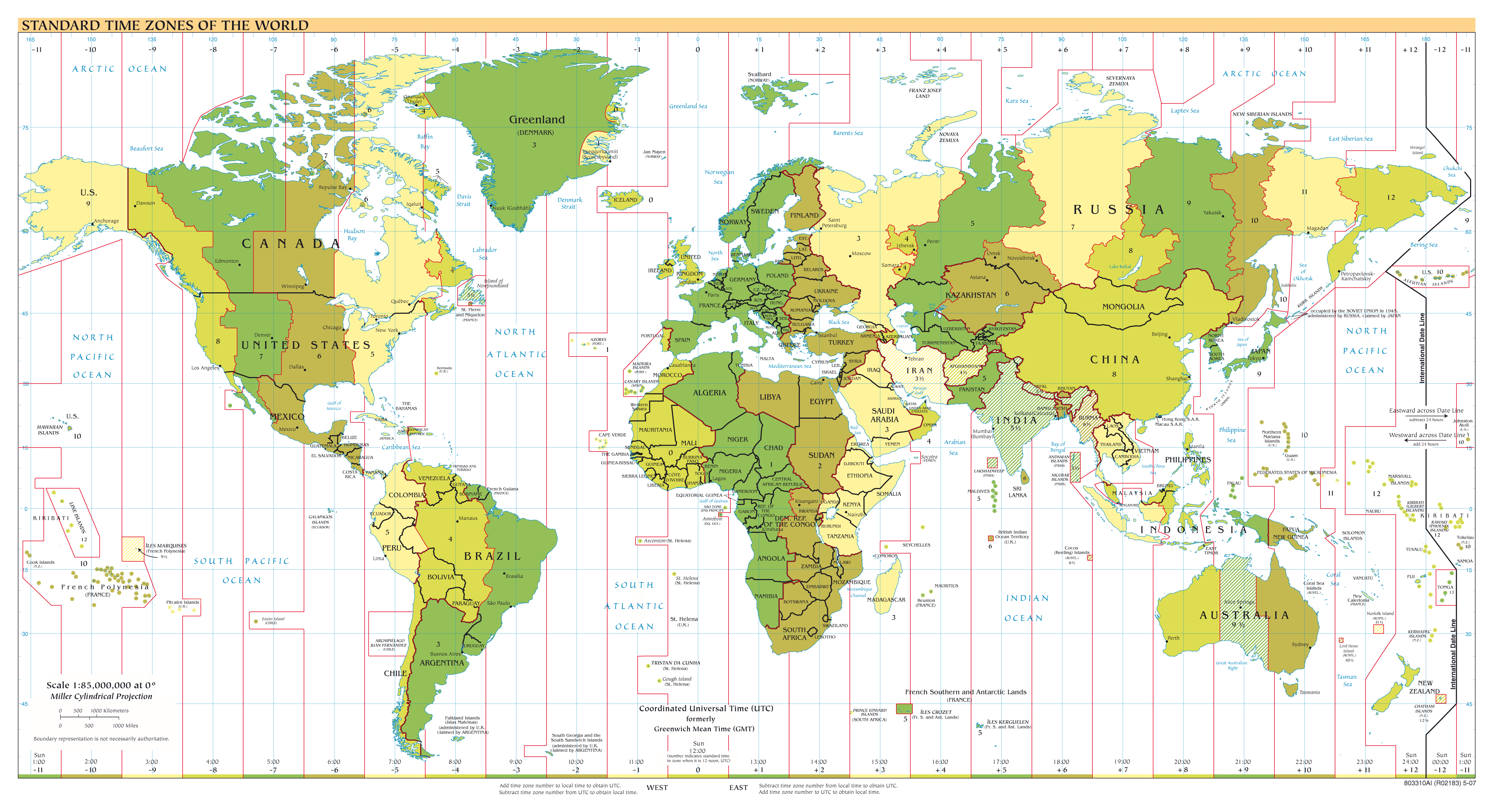 Large Scale Map Of France.Large Scale Standart Time Zones Map Of The World 2007