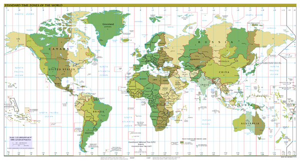 Large scale Standart Time Zones map of the World - 2012.