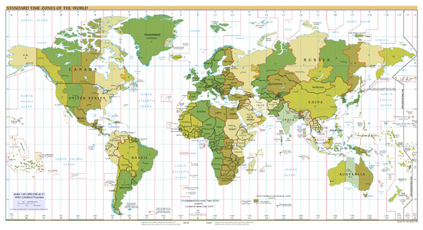 Large scale Time Zones map of the World - 2008.