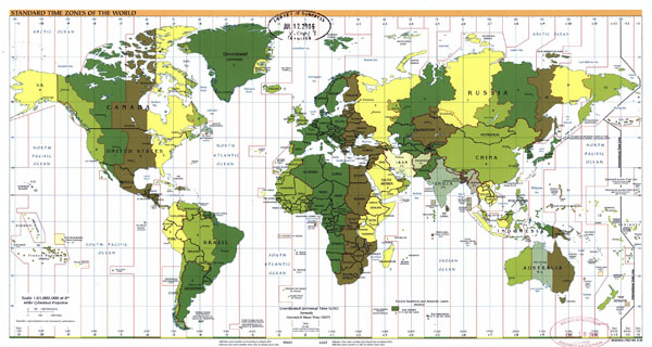 Large Standart Time Zones map of the World - 2006.