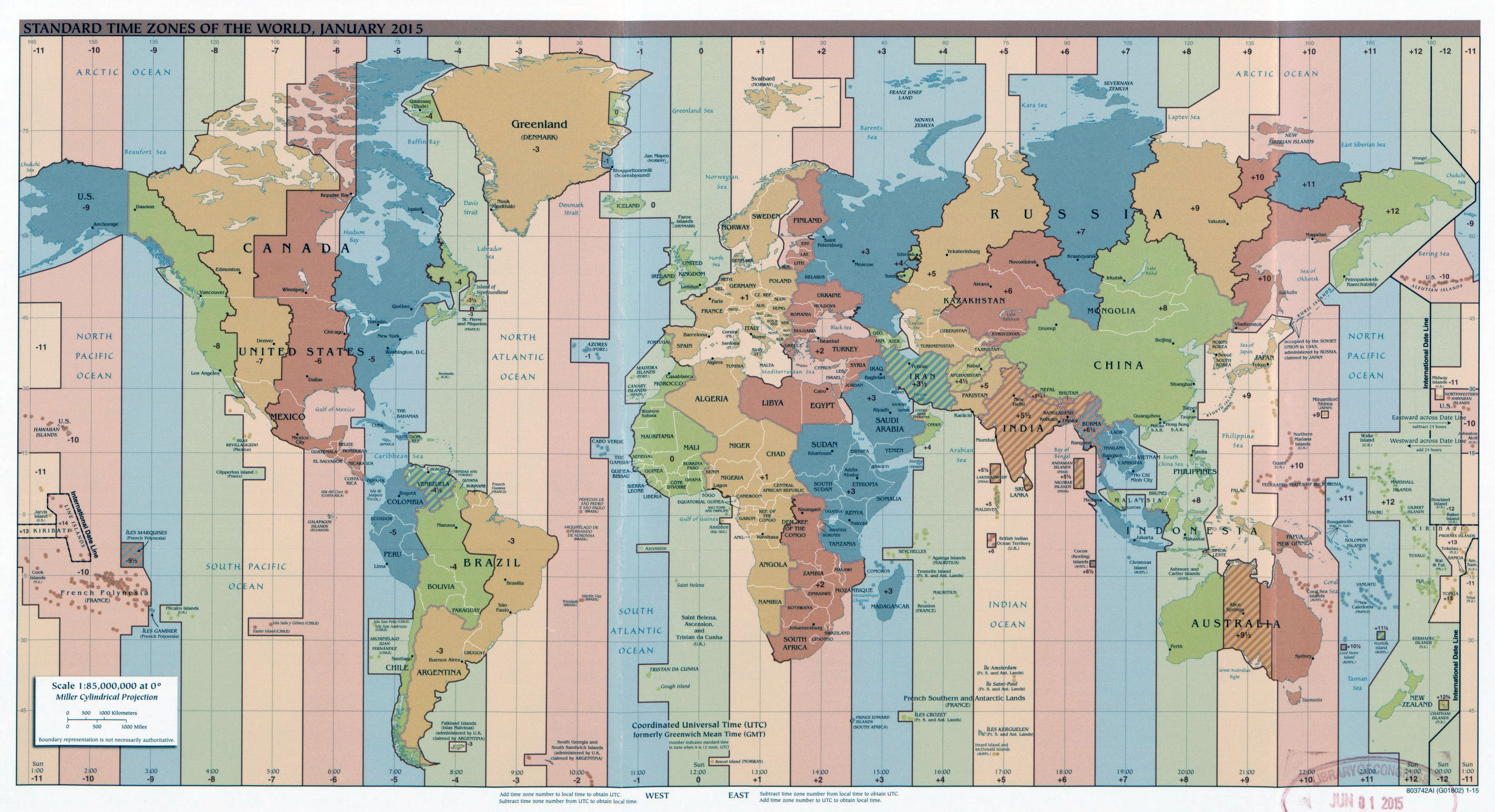 Large Time Zones map of the World – 2015 | Vidiani.com | Maps of all ...