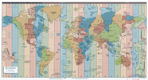 Large Time Zones map of the World - 2015.