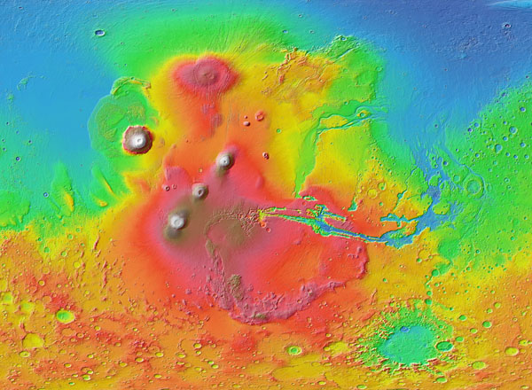 High resolution detailed map of the Mars surface.