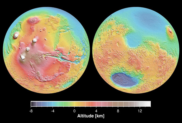 Large detailed map of the surface Mars.