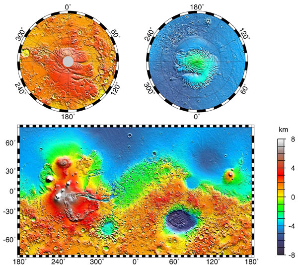 Large detailed topographic map of Mars.