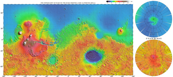Large scale (HiRes) detailed topographic map of Mars.